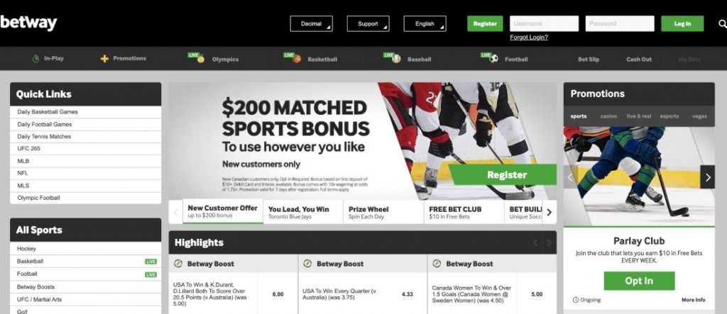 Betway Canada Sports Betting